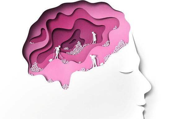 Gehirn mit verschiedenen Schichten in Lila-Tönen, in denen kleine Männchen aufräumen.