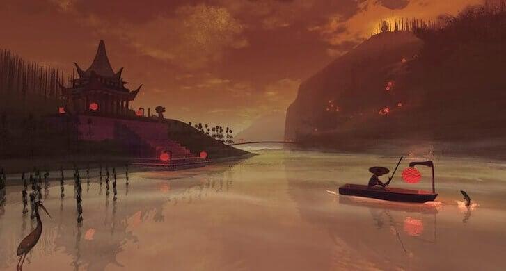Chinesischer Tempel über See mit Gondel und Reiher