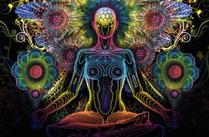 Mantras für die Meditation - Bunte Figur beim Meditieren