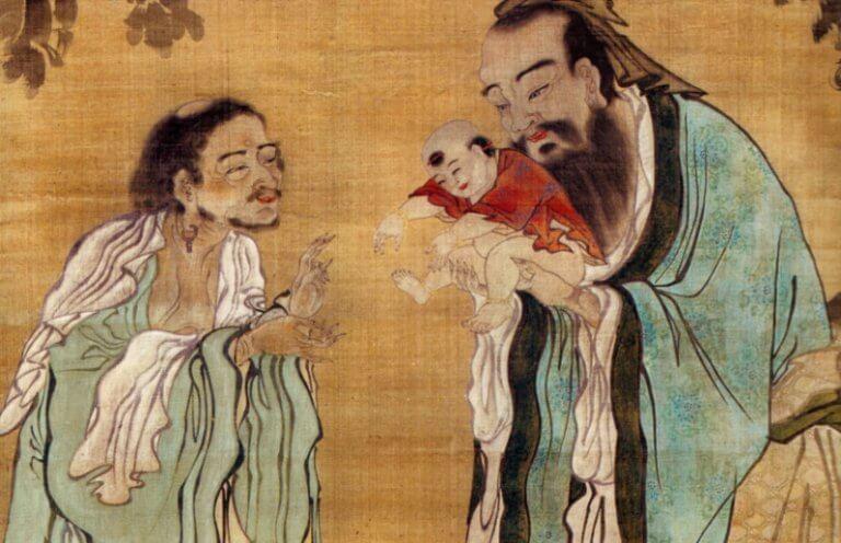 Chinesische Männer und Baby auf Pergament