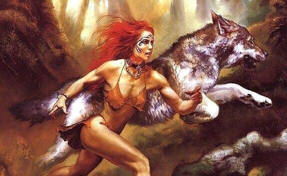 Frau rennt mit Wolf