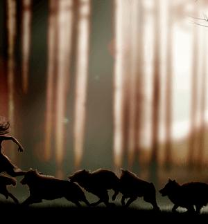 Die Wolfsfrau - Frau rennt mit Wölfen durch den Wald