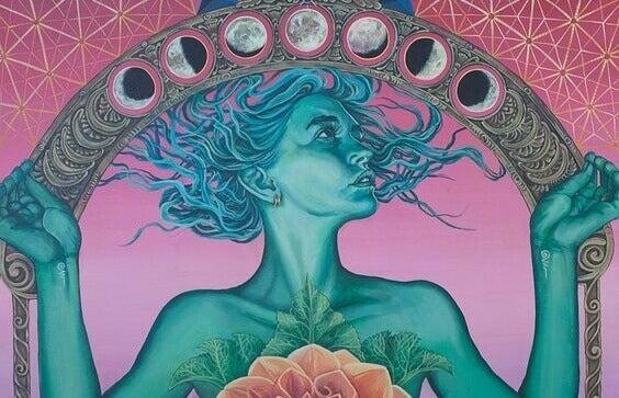 Frau, umgeben von Monden in verschiedenen Phasen