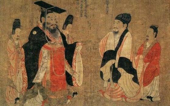 Chinesische Männer auf Pergament