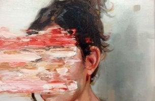 Angststörungen - Gesicht einer Frau mit verschmierter Farbe