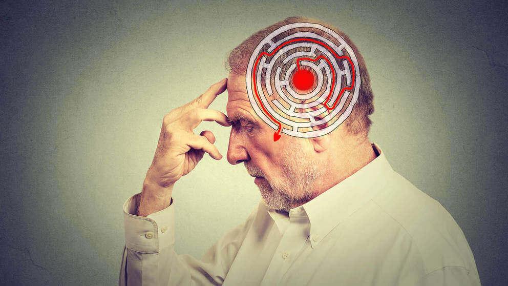 Labyrinth im Kopf eines Mannes