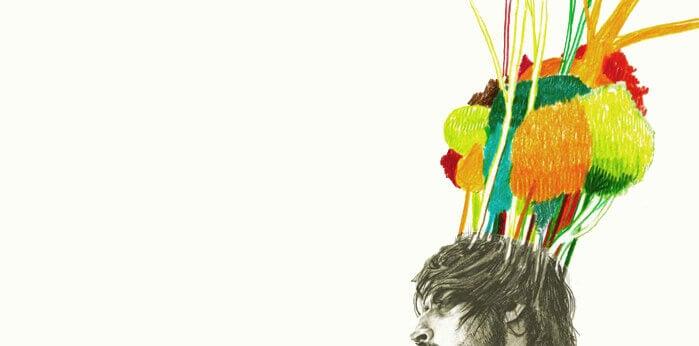 Zeichnung eines Mannes, aus dessen Haaren ein farbenfroher Wald wächst.