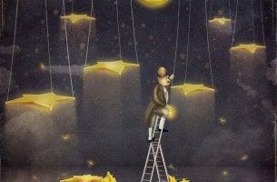 Mutige Entscheidungen treffen - Mann steht auf einer Leiter und berührt die Sterne