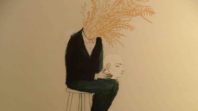 Zeichnung eines Mannes, der seinen Kopf auf den Oberschenkeln trägt und aus dessen Kragen eine Wiese wächst.