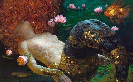 Meerjungfrau unter Wasser