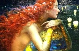 Mich um mich selbst kümmern - rothaarige Meerjungfrau in ihrer eigenen Welt