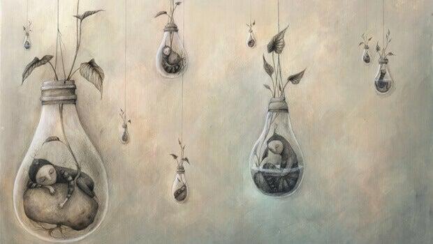 Menschen hängen in Glühbirnen
