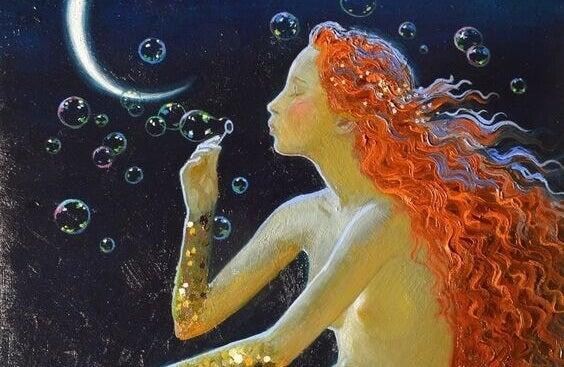 Meerjungfrau mit Seifenblasen