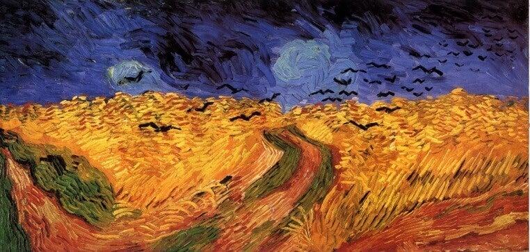 Van Gogh malt gelbe Felder und blauen Himmel