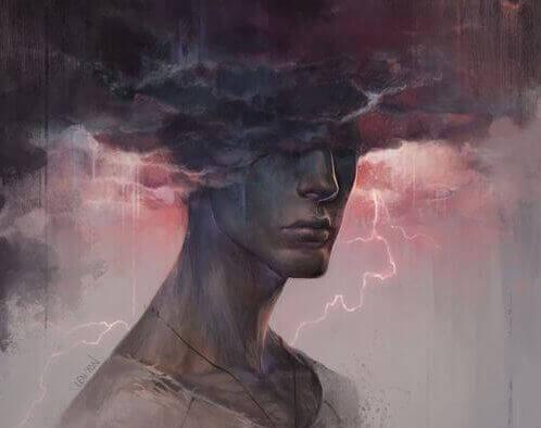 Verärgerter Mann mit Gewitterwolke über dem Kopf