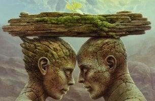 Spiegeltheorie - Paar aus Stein unter einer Platte