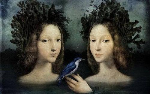 Zwei Mädchen mit Vogel
