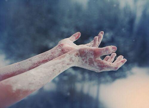 Mit Eis bedeckte Hände