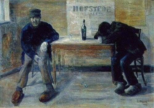 Betrunkene Männer in einer Bar
