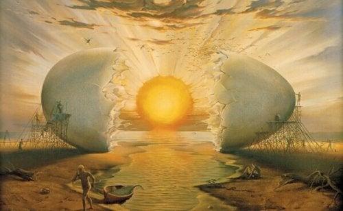 Aus einem Ei geschlüpfte Sonne