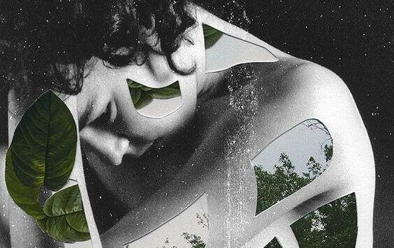 Zerstörerische Beziehung - Frau mit geometrischen Figuren und Motiven aus der Natur