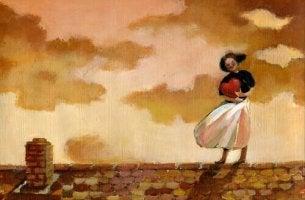 Liebe dich selbst - Frau auf einem Dach umarmt Herz