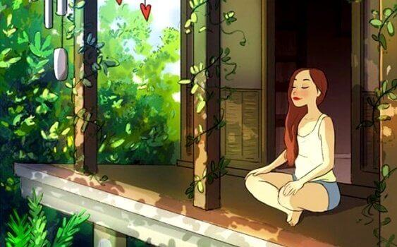 Selbstgespräche führen - Mädchen sitzt im Schneidersitz vor einem Haus