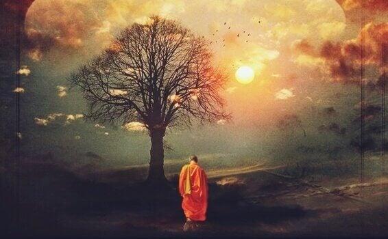 Buddhistischer Mönch vor einem Baum