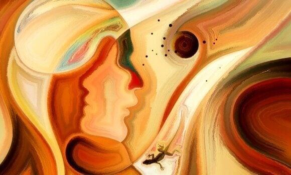 Gemälde einer Frau und eines Salamanders