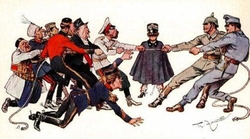Miteinander ringende Kriegsparteien