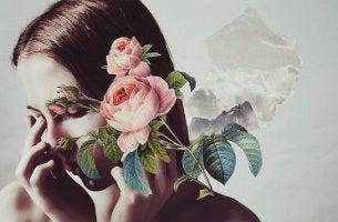 Hyperempathie-Syndrom - Frau mit rosa Rosen