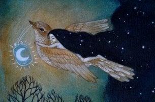 Zeit und Schuhe - Mädchen fliegt auf einem Vogel durch die Nacht, wobei dieser ein Licht vor sich herträgt