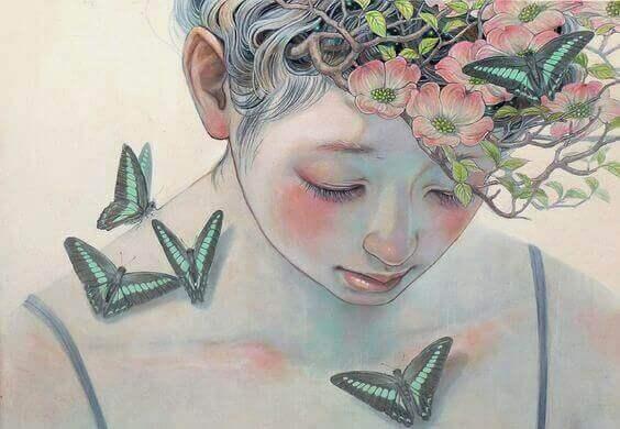Eigene Toxizität? - Mädchen mit Schmetterlingen und Blumen