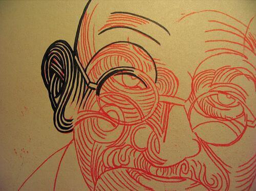 In Rot gezeichneter Gandhi