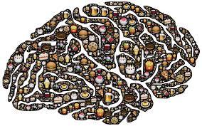 Gehirn mit vielen Lebensmitteln darin