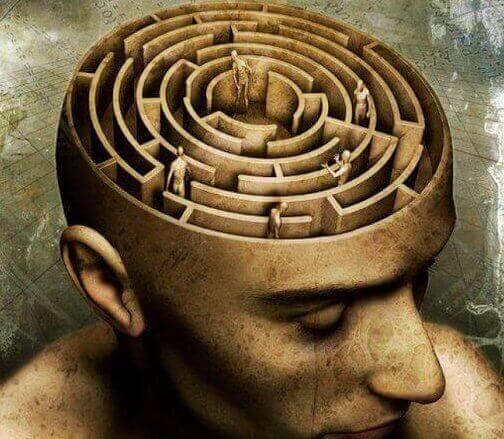 Geist eines Mannes, als Labyrinth dargestellt