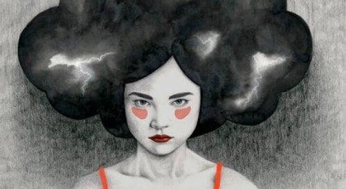 Gewitter im Haar einer Frau
