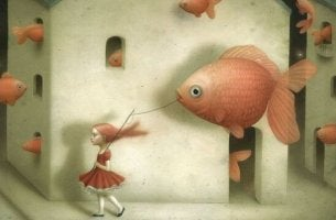 Das Bedürfnis, andere zu kontrollieren - Mädchen geht mit Fisch spazieren