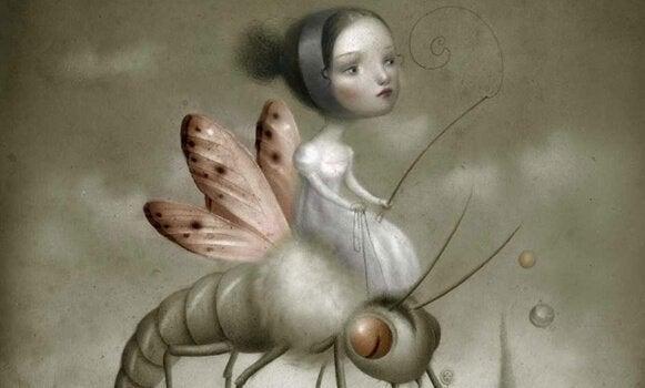 Mädchen reitet auf einem Insekt
