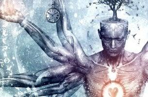 Was ist Tryptophan? - Mann mit mehreren Armen, Herz und Uhr