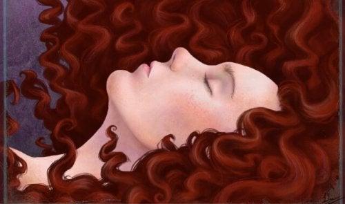 Rothaarige schlafende Frau