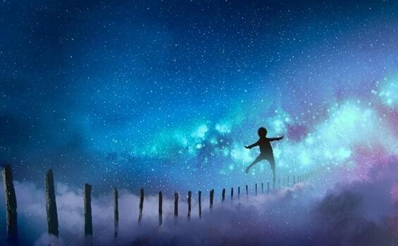 Junge tanzt auf Zaun