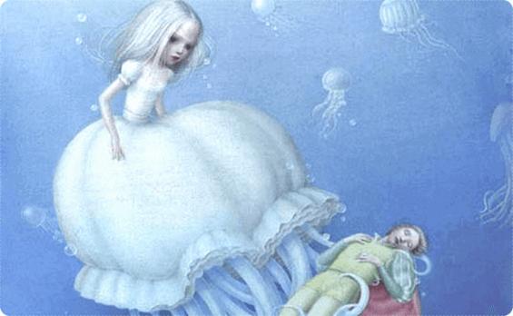Mädchen als giftige Qualle vor einem Prinzen im Meer.