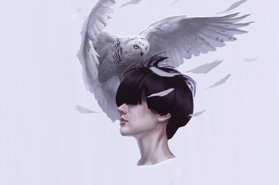 Person mit Eule auf dem Kopf