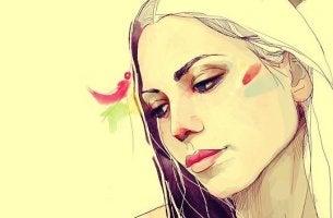Auch optimistische Menschen haben schwache Momente - Zeichnung einer Frau, die nach unten schaut