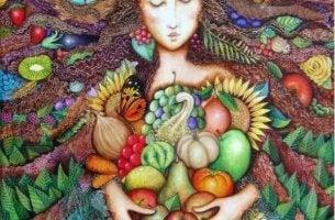 Emotionen und Ernährung - Frau in einem Bett aus Früchten