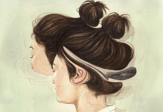 Frau mit zwei Gesichtern