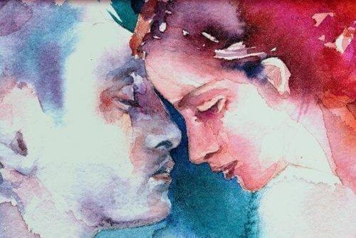 Wahrheiten über die Liebe - Paar in blau und rot