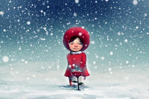 Andere Weihnachten - Mädchen im Schnee