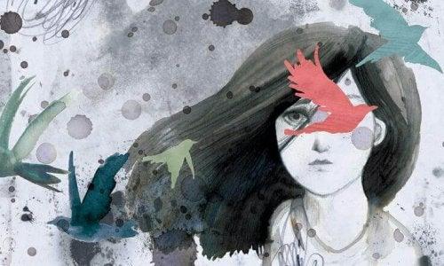 Zweifelnde Frau mit Vogelsilhouetten